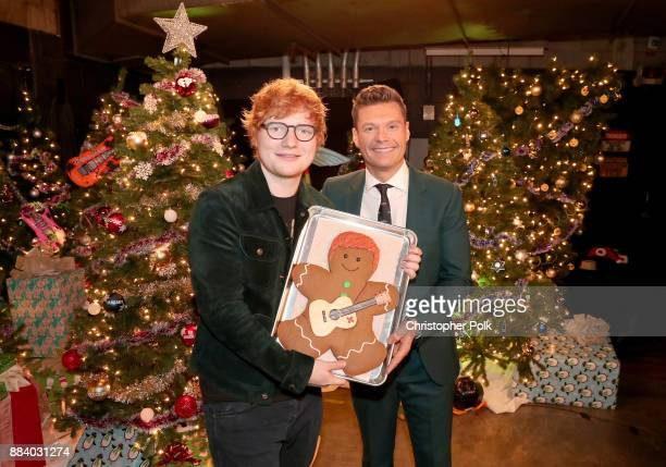 Ed Sheeran and Ryan Seacrest attend 1027 KIIS FM's Jingle Ball 2017 presented by Capital One at The Forum on December 1 2017 in Inglewood California