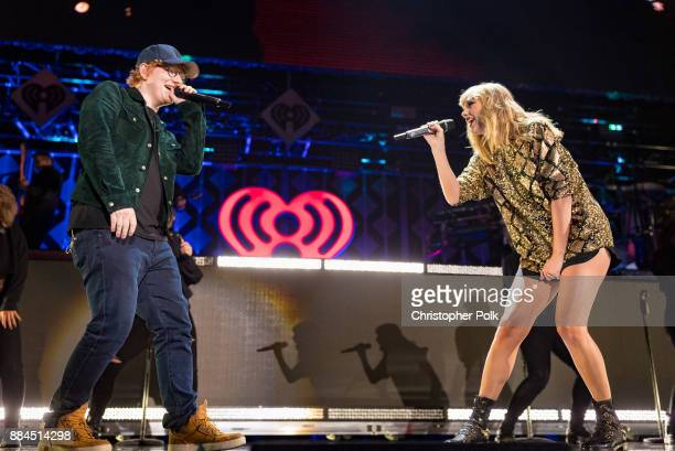 Ed Sheeran and Taylor Swift perform onstage during 1027 KIIS FM's Jingle Ball 2017 presented by Capital One at The Forum on December 1 2017 in...