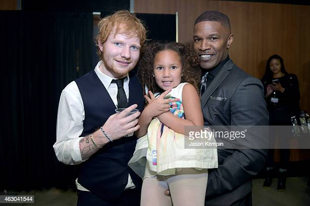 Ed Sheeran Annalise Bishop and Jaime Foxx attend The 57th Annual GRAMMY Awards at STAPLES Center on February 8 2015 in Los Angeles California