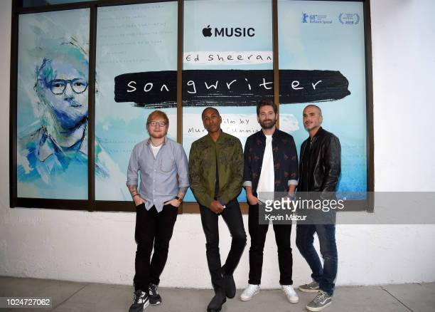 Ed Sheeran Apple Music's Head of Content Larry Jackson filmmaker Murray Cummings and Apple Music's Zane Lowe attend Apple Music Presents 'Songwriter'...
