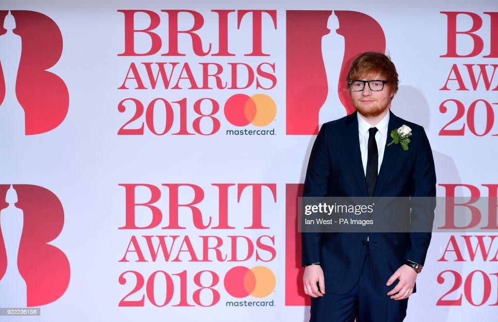 Ed Sheeran attending the Brit Awards at the O2 Arena, London.
