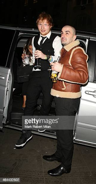 Ed Sheeran attending the Warner Music post BRIT awards party at The Freemasons Hall on February 25 2015 in London England