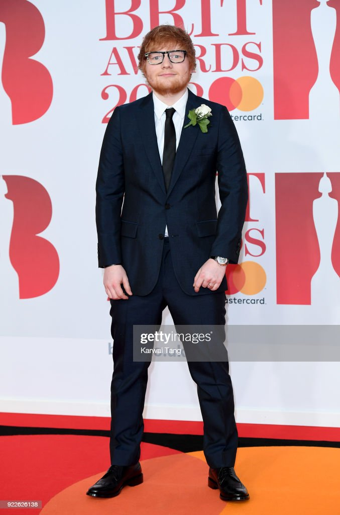Ed Sheeran attends The BRIT Awards 2018 held at The O2 Arena on February 21, 2018 in London, England.
