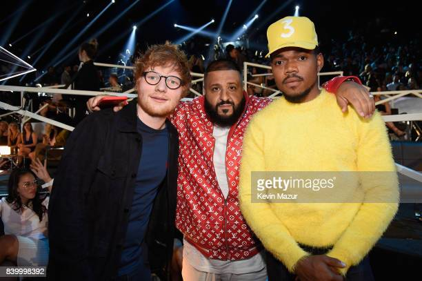 Ed Sheeran DJ Khaled and Chance The Rapper attend the 2017 MTV Video Music Awards at The Forum on August 27 2017 in Inglewood California
