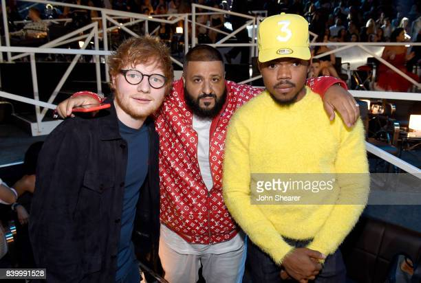 Ed Sheeran DJ Khaled and Chance The Rapper pose backstage during the 2017 MTV Video Music Awards at The Forum on August 27 2017 in Inglewood...
