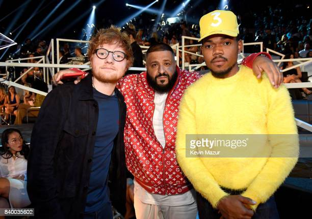 Ed Sheeran DJ Khalid and Chance The Rapper attend the 2017 MTV Video Music Awards at The Forum on August 27 2017 in Inglewood California