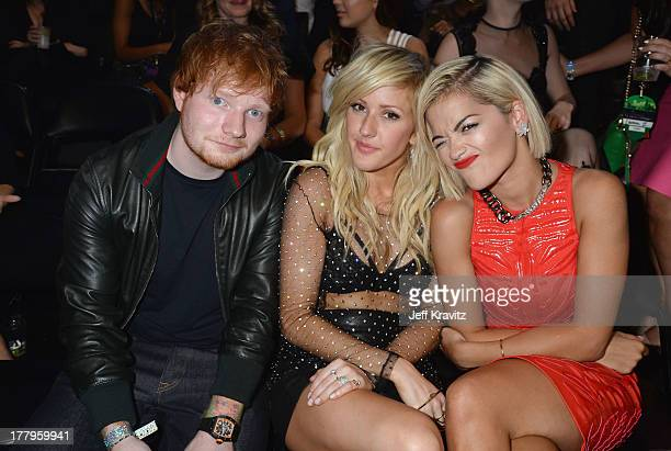 Ed Sheeran, Ellie Goulding and Rita Ora attend the 2013 MTV Video Music Awards at the Barclays Center on August 25, 2013 in the Brooklyn borough of...