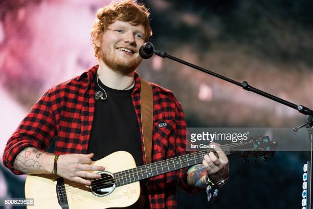 Ed Sheeran headlines on the Pyramid Stage during day 4 of the Glastonbury Festival 2017 at Worthy Farm Pilton on June 25 2017 in Glastonbury England
