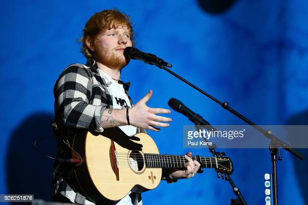 Ed Sheeran interacts with concertgoers during his concert on the opening night of his Australian tour at Optus Stadium on March 2 2018 in Perth...