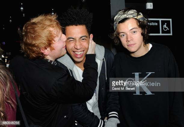 Ed Sheeran Jordan Stephens and Harry Styles attend the Fudge Urban Lou Teasdale Book Launch party on March 25 2014 in London United Kingdom