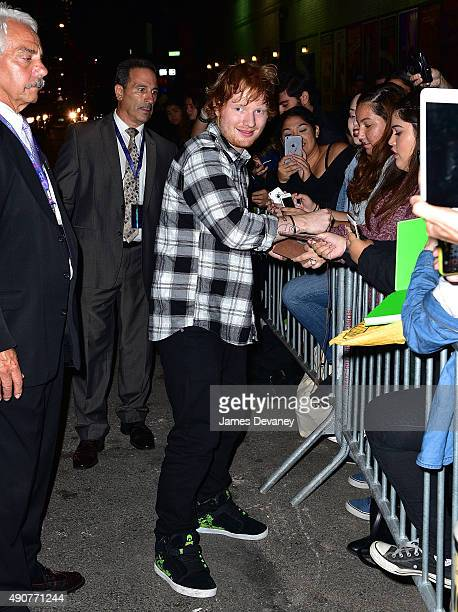 Ed Sheeran leaves The Late Show With Stephen Colbert at Ed Sullivan Theater on September 30 2015 in New York City