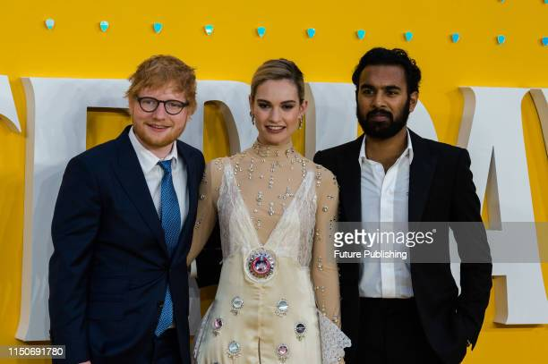 Ed Sheeran, Lily James and Himesh Patel attend the UK film premiere of 'Yesterday' at the Odeon Luxe, Leicester Square on 18 June, 2019 in London,...