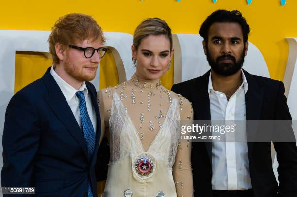 Ed Sheeran Lily James and Himesh Patel attend the UK film premiere of 'Yesterday' at the Odeon Luxe Leicester Square on 18 June 2019 in London England