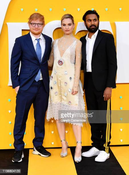 Ed Sheeran Lily James and Himesh Patel attend the UK Premiere of Yesterday at Odeon Luxe Leicester Square on June 18 2019 in London England