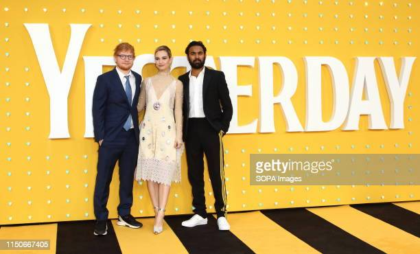 Ed Sheeran Lily James and Himesh Patel attend the Yesterday UK Premiere McCallat the Odeon Luxe Leicester Square