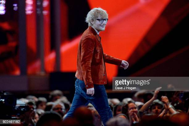 AWARDS 2018 *** Ed Sheeran on stage at The BRIT Awards 2018 held at The O2 Arena on February 21 2018 in London England