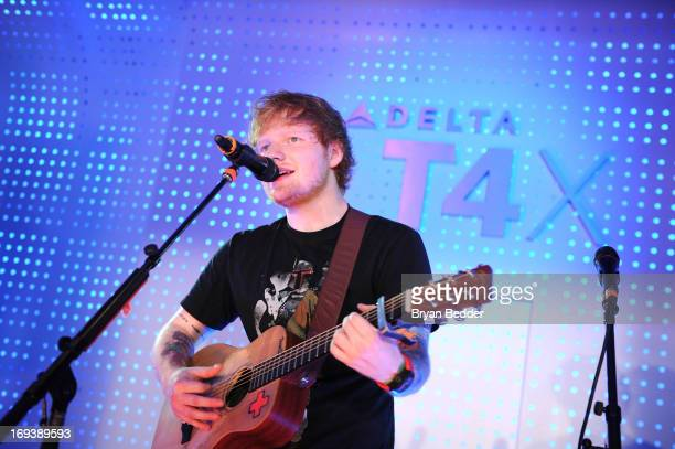 Ed Sheeran performs as Delta Air Lines and Fuse celebrate the opening of the airline's newly transformed JFK Terminal 4 with a live performance from...