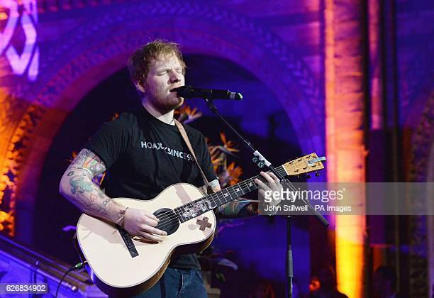 Ed Sheeran performs at East Anglia's Children's Hospices gala dinner at the Natural History Museum London