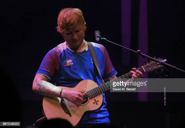 Ed Sheeran performs at the Argento Ball for the Elton John AIDS Foundation in association with BVLGARI Bob and Tamar Manoukian on June 27 2018 in...