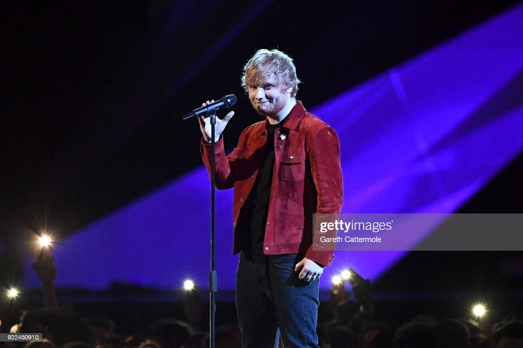 Ed Sheeran performs at The BRIT Awards 2018 held at The O2 Arena on February 21, 2018 in London, England.