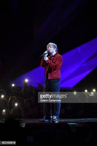 AWARDS 2018 *** Ed Sheeran performs at The BRIT Awards 2018 held at The O2 Arena on February 21 2018 in London England