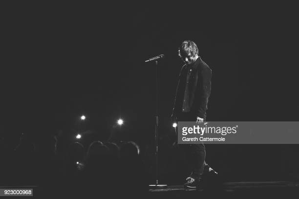 Ed Sheeran performs at The BRIT Awards 2018 held at The O2 Arena on February 21 2018 in London England