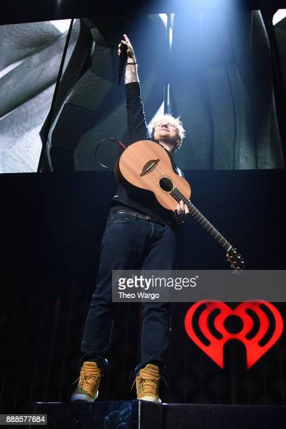 Ed Sheeran performs at Z100's Jingle Ball 2017 on December 8 2017 in New York City