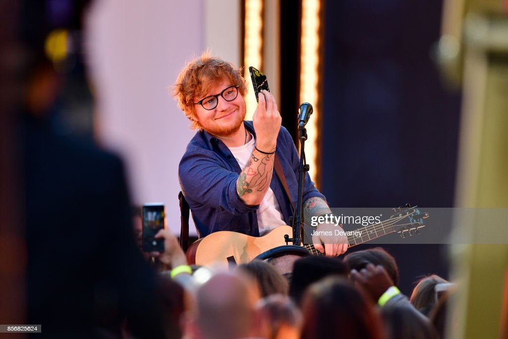 Ed Sheeran performs in Times Square for MTV's 'TRL' on October 2, 2017 in New York City.