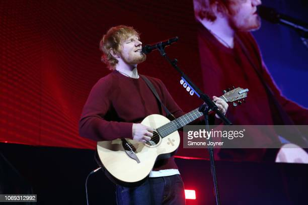 Ed Sheeran performs live on stage during 'Music 4 Mental Health' at The Roundhouse on November 18 2018 in London England