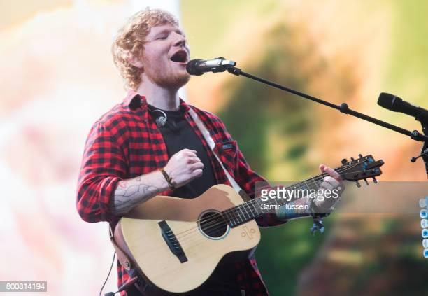Ed Sheeran performs on day 4 of the Glastonbury Festival 2017 at Worthy Farm Pilton on June 25 2017 in Glastonbury England