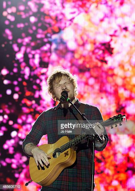 Ed Sheeran performs on stage at Fusion Festival at Cofton Park on August 28 2015 in Birmingham England