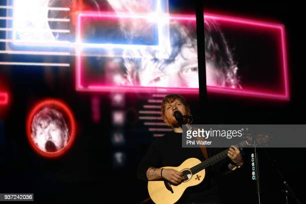 Ed Sheeran performs on stage at Mt Smart Stadium on March 24 2018 in Auckland New Zealand