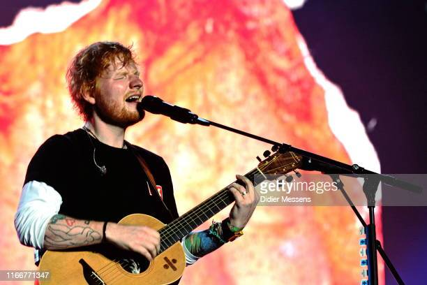 Ed Sheeran performs on stage at Sziget Festival on