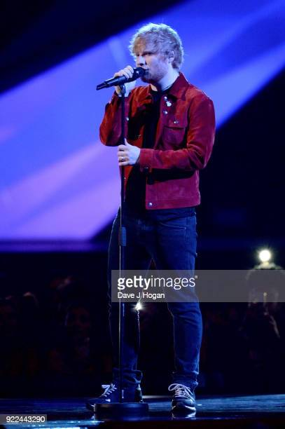 AWARDS 2018 *** Ed Sheeran performs on stage at The BRIT Awards 2018 held at The O2 Arena on February 21 2018 in London England
