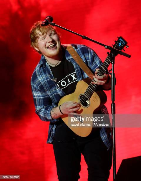 Ed Sheeran performs on stage during day two of Capital's Jingle Bell Ball with CocaCola at London's O2 Arena
