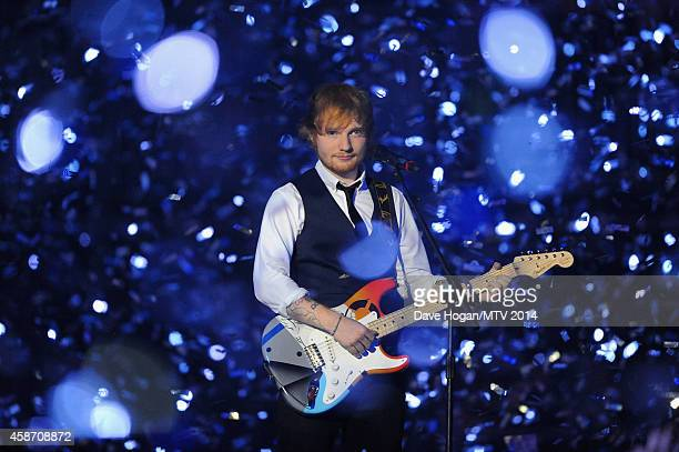 Ed Sheeran performs on stage during the MTV EMA's 2014 at The Hydro on November 9, 2014 in Glasgow, Scotland.