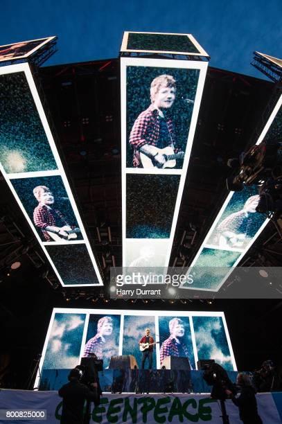 Ed Sheeran performs on The Pyramid Stage on day 4 of the Glastonbury Festival 2017 at Worthy Farm Pilton on June 25 2017 in Glastonbury England