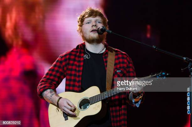Ed Sheeran performs on The Pyramid Stage on day 4 of the Glastonbury Festival 2017 at Worthy Farm Pilton on June 25 2017 in Glastonbury England