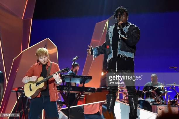 Ed Sheeran performs with Lil Uzi Vert during the 2017 MTV Video Music Awards at The Forum on August 27 2017 in Inglewood California