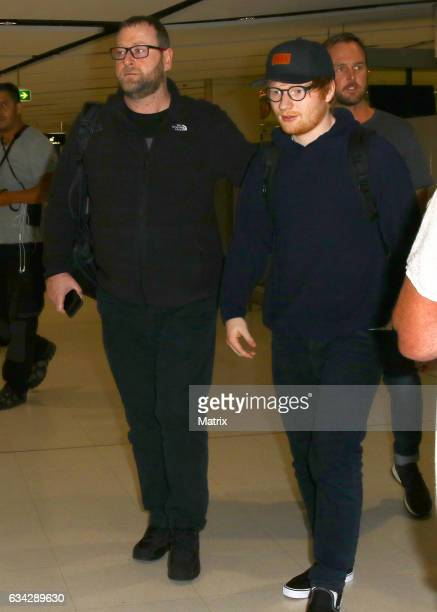 Ed Sheeran pictured at Sydney airport on February 8 2017 in Sydney Australia