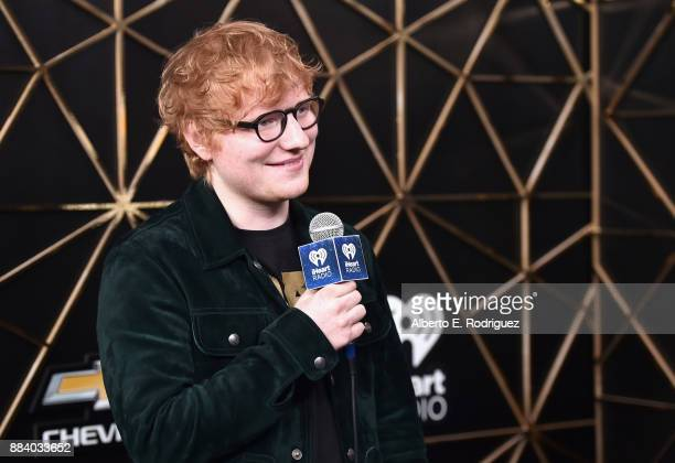 Ed Sheeran poses in the press room during 1027 KIIS FM's Jingle Ball 2017 presented by Capital One at The Forum on December 1 2017 in Inglewood...