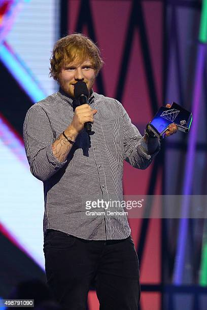 Ed Sheeran receives the ARIA Diamond Award from James Blunt during the 29th Annual ARIA Awards 2015 at The Star on November 26 2015 in Sydney...