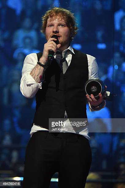 Ed Sheeran receives the award for Best Live Act on stage during the MTV EMA's 2015 at the Mediolanum Forum on October 25 2015 in Milan Italy