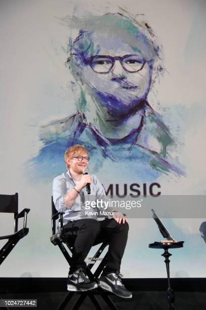 Ed Sheeran speaks onstage at Apple Music Presents 'Songwriter' With Ed Sheeran in Los Angeles at ArcLight Cinemas Cinerama Dome on August 27 2018 in...