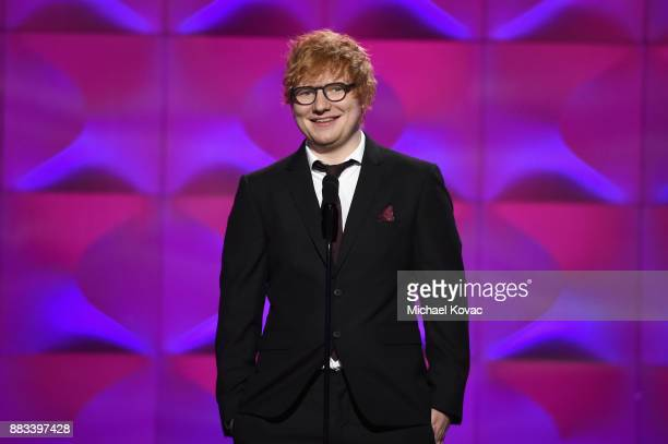 Ed Sheeran speaks onstage at Billboard Women In Music 2017 at The Ray Dolby Ballroom at Hollywood Highland Center on November 30 2017 in Hollywood...