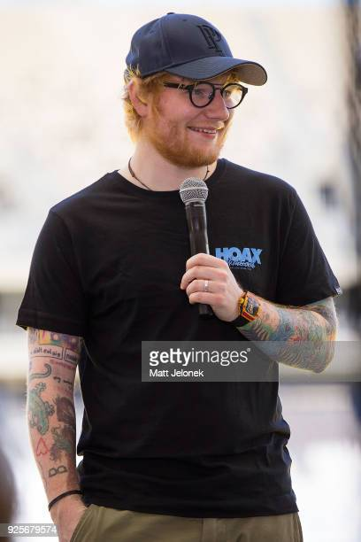 Ed Sheeran speaks to media at Optus Stadium during a media call for the launch of a recordbreaking Australian and New Zealand Tour on March 1 2018 in...