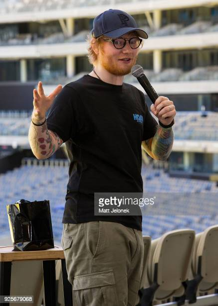 Ed Sheeran speaks to the media at Optus Stadium at a media call for the launch of a recordbreaking Australian and New Zealand Tour on March 1 2018 in...