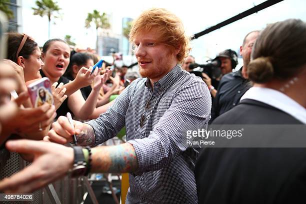 Ed Sheeran takes a selfie with fans on the red carpet ahead of the 29th Annual ARIA Awards 2015 at The Star on November 26 2015 in Sydney Australia