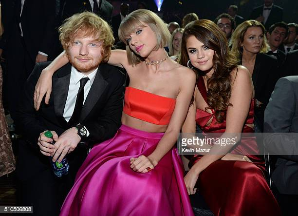 Ed Sheeran Taylor Swift and Selena Gomez attend The 58th GRAMMY Awards at Staples Center on February 15 2016 in Los Angeles California