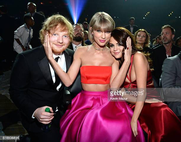 Ed Sheeran, Taylor Swift and Selena Gomez attend The 58th GRAMMY Awards at Staples Center on February 15, 2016 in Los Angeles, California.